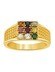 Ciemme 18 Kt Gold Plated Over 925 Sterling Silver Navratna CZ Ring For Men - B00Y876NHK
