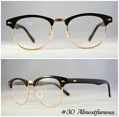 moda-classica-clubmaster-cornice-nerd-retro-vintage-wayfarer-nero-rotondo-nero-lente-trasparente-occ