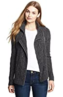 Autumn Cashmere Cable Moto Jacket in Cavalry