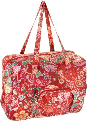 Oilily Painted Flowers Folding shopper Cherry OCB0117-2002, Damen Shopper, rot (Cherry 2002) unfolded 41 x 18 x 31 folded 16 x 4 x 12 (BxHxT)