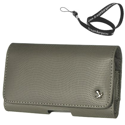 Premium Horizontal N9 - Gray Carrying Case Pouch Case For Sony Xperia L - Free Dreambargains Neckstrap / Lanyard!