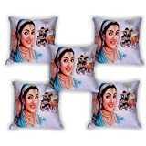 First Row Ash Digital Print Cushion Cover Set Of 5