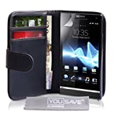 Yousave Accessories PU Leather Wallet Cover Case for Sony Xperia Miro - Black