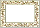 Gold Holly Trim Photo Holders - Box of 18 Designer Greetings Christmas Cards