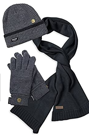 Amazon.com: VEDONEIRE Mens Hat Scarf Glove Set (GREY 3017 ...
