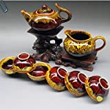 Ufingo-Chinese Antique Junyao Yellow And Brown 8 Piece Ceramic Small Kung Fu Tea Set Tea Service