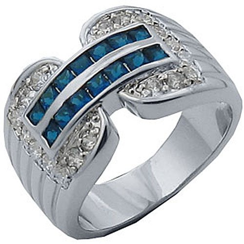 1.91 Cw Dark Blue And Clear Cz Rhodium Finish Women'S Fashion Ring (8)