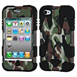 APPLE IPHONE 4 4S BROWN ARMY CAMO BLACK HYBRID CYBORG KICKSTAND COVER HARD GEL CASE from [ACCESSORY ARENA]