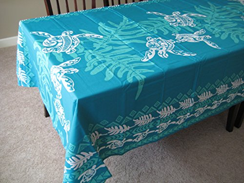 Honu Sea turtle under lawai Hawaiian Quilt Print Water Resistant Tablecloth 60