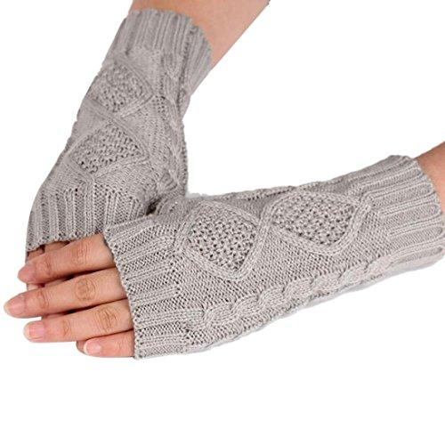 Bigban 1 Pair Women's Warm Diamond Winter Gloves Mittens (Grey)