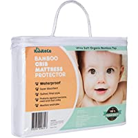Waterproof Crib Mattress Pad Protector, Organic Super Soft Bamboo Quilted Cover from Kiddleco