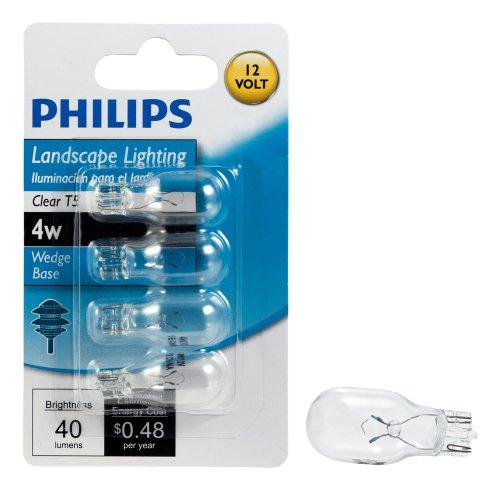 Philips 416032 Landscape Lighting 4-Watt T5 12-Volt Wedge Base Light Bulb, 4-Pack