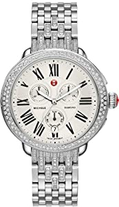 Michele Serein Diamond Silver Dial Chronograph Ladies Watch