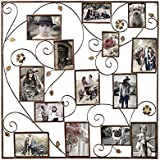 Adeco Decorative Bronze-Color Iron Wall Hanging Collage Picture Photo Frame, 14 Openings, Various Sizes
