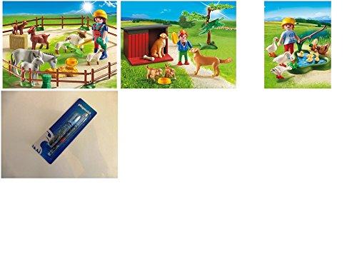 Set: PLAYMOBIL® 6133 Tierweide + 6134 Golden Retriever mit Welpen + 6141 Enten und Gänse am Teich + Depesche Playmobil Steckstiftset Bleistift und Radierer