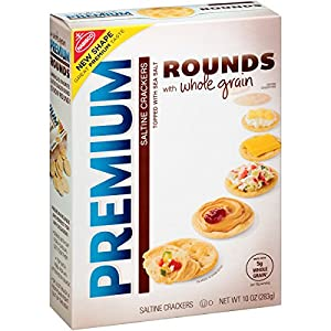 Premium Rounds Whole Grain Saltine Crackers, 10 Ounce (Pack of 6)