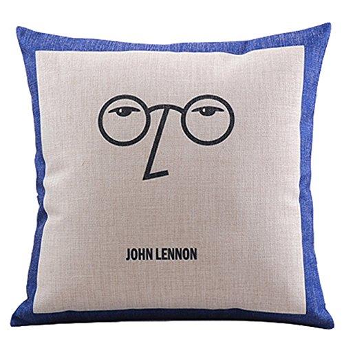 Prettypillow Cotton Linen Decorative Throw Pillow Set Cushion With Insert Eye Glasses Print Square 18