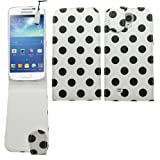 Samrick Polka Dots Specially Designed Leather Flip Case, Screen Protector, Microfibre Cloth and White High Capacitive Mini Stylus Pen for Samsung i9190 Galaxy S4 IV Mini and i9192 Galaxy S4 IV Mini Dual Sim - White/Black