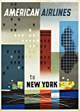 Vintage Travel AMERICAN AIRLINES to NEW YORK 250gsm ART CARD Gloss A3 Reproduction Poster