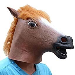 Masquerade Mask,Neartime Halloween Party Horse Latex Masks Funny (Brown)