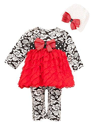 Peaches N Cream Baby Girls' Damask Red Eyelash Dress Romper & Hat 24M (54-1302) front-1063864