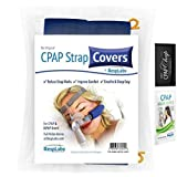CPAP Strap Cover, Fleece Fabric Comfort Cheek Pad w/ Guide Wire by RespLabs | Full Face & Nasal ResMed, Phillips Respironics Masks + Cleaner Wipe & Chap (2 Pack)