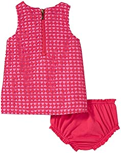 kate spade york Babies' Guipure Lace Dress and Bloomer Set, Geranium