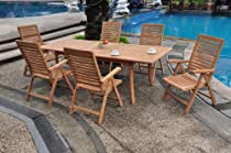 "Big Sale Grade-A Teak Wood Luxurious Dining Set Collections: 7 pc - 94"" Double Extension Rectangle Table And 6 Ashley Reclining Arm Chairs"