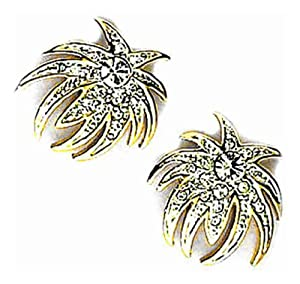 Pricegems Gold Plated Ladies Swarovski Crystal Clip On Fireworks 'Le Diner Au Casino' Clip On Earrings