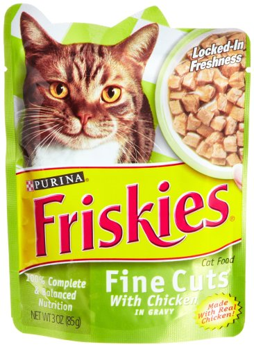 Friskies Cat Food Fine Cuts with Chicken in Gravy, 3-Ounce Pouches (Pack of 24)