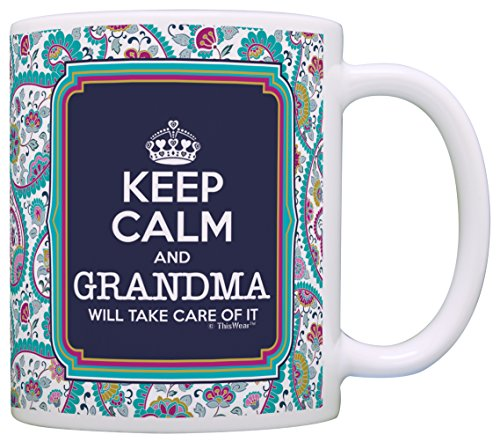 Keep Calm Grandma Will Take Care of It Gift Coffee Mug Tea Cup Paisley (Paisley Coffee Mug compare prices)