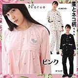 ナルエー パジャマ ねこフロッキーセットアップ ルームウェア 2色展開 M~Lサイズ( レディース 【ピンク】