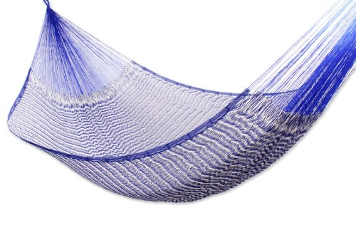 Cotton hammock, 'Ocean Waves' (double) – Handcrafted Cotton Striped Rope Hammock from Mexico