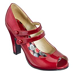 Red Flowered Mid Heel Shoes