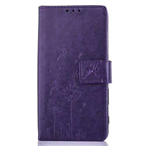 LG-K10-Hlle-BONROY-Prgung-Lwenzahn-Muster-LG-K10-Wallet-Case-Flip-Cover-Hllen-Karten-Slot-Schutzhlle-Etui-Magnetverschluss-Book-Stil-Premium-Hlle-mit-Standfunktion-fr-LG-K10