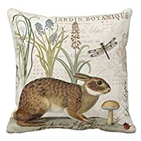 """Modern Vintage French Rabbit In The Garden Print Custom Zippered Pillow Cushion Case Throw Pillow Covers 18""""x18"""" Twin Sides by pillow perfect"""