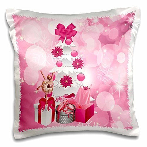 Doreen Erhardt Christmas Collection - Pink and White Ballerina Christmas with Ballet Shoes, Tutu and White Christmas Tree - 16x16 inch Pillow Case