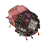 Beautiful Set Of 2 Cushion Cover Floral Black Round Cotton Pillow Cases
