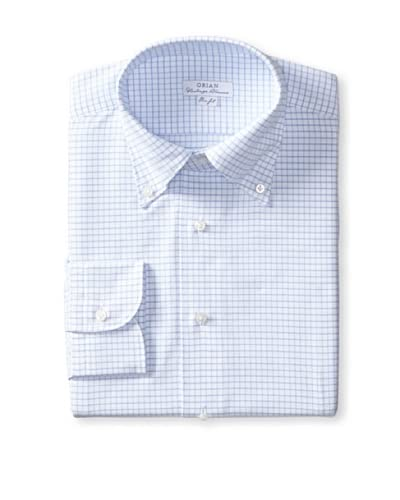 Orian Men's Slim Fit Washed Button Down Graph Check Oxford Dress Shirt