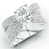 2.16 Carat Cushion Cut / Shape 14K White Gold Modern Pave Set Triple Row Diamond Engagement Ring ( J Color , VS2 Clarity )