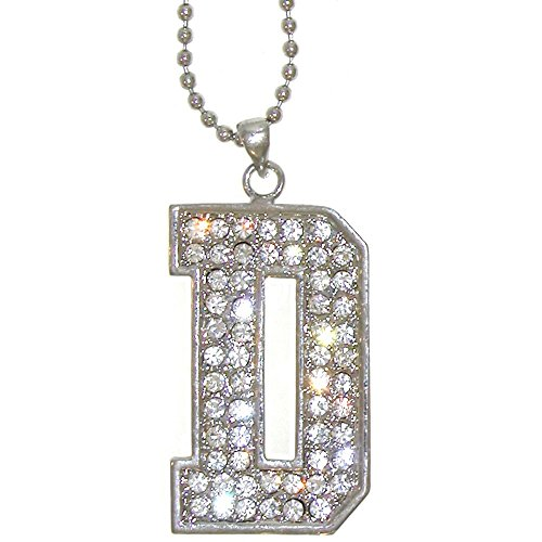 """1 7/8"""" Austrian Crystal Varsity Letter Initial Necklace On 16"""" Ball Chain, D in Crystal with Silver Tone Finish"""