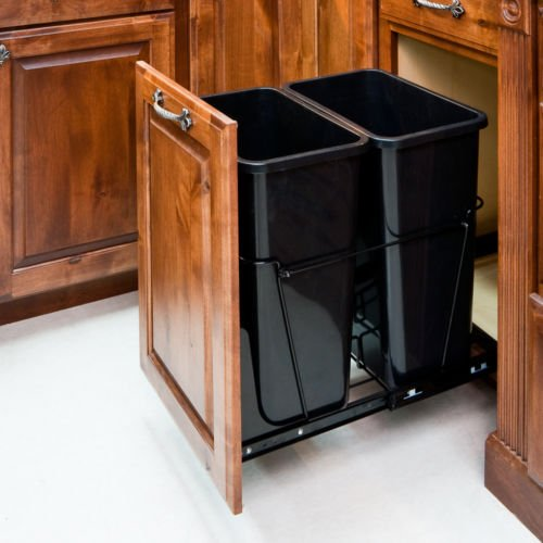 Modern Double Trash Can Pull Out System with Black Cans Black - P3 (Funny Trash Can compare prices)