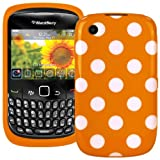 Polka Dot XYLO-GEL Skin / Case / Cover for your BlackBerry Curve Mobile Phone (Curve 8520 / 9300 3G, Orange With White Polka Dots)