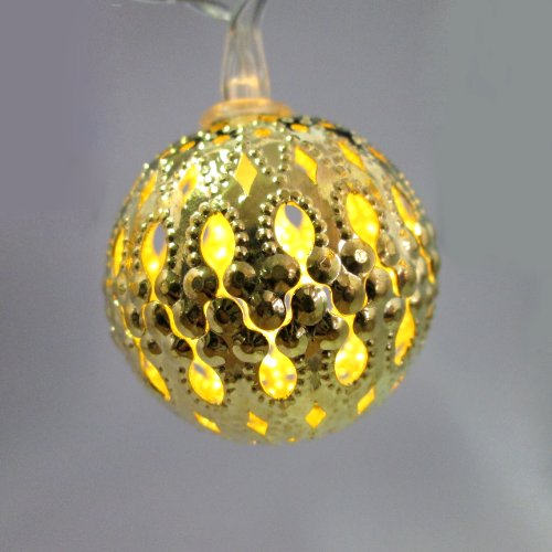 Cut-Out Metal Gold Ball 10 LED Warm White Battery String Lights