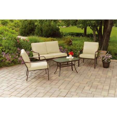 Mainstays Stanton Cushioned 4-Piece Patio Conversation Set, Tan, Seats 4