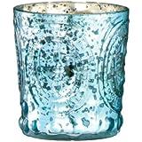 Small Antique Fleur de Lis Aqua Blue/Green Mercury Glass Votive