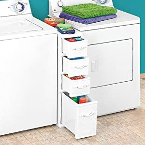 Wicker Laundry Organizer Between Washer Dryer Drawers