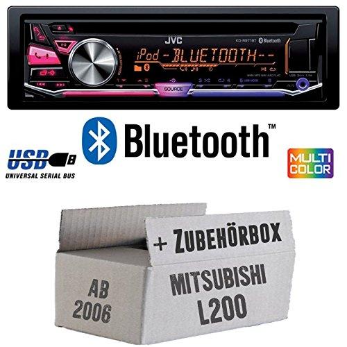 Mitsubishi L200 ab 2006 - JVC KD-R971BT - Bluetooth CD/MP3/USB MultiColor Autoradio - Einbauset