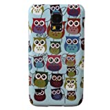 Teenitor(TM) #S505 Pack Of 2 Cute Owl Cartoon 1 Camera Design Hard Shield Protective Cover Snap-on Plastic Cases + 1 Cartoon Animal TPU Case For Samsung Galaxy S5 i9600(With Screen Protector Stylu Fish Earphone Cable Organizer Whistle) Shipping From USA