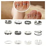 Wholesale 12pcs Celebrity Fashion Simple Sliver Carved Flower Toe Ring Jewelry C